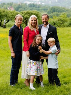 Crown Prince Haakon and Crown Princess Mette-Marit release pictures ahead of 40th birthday celebrations with their three children (L-R) Marius Borg Hoiby, Princess Ingrid Alexandra and Prince Sverre Magnus