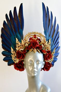 Kinaree Headdress with macaw feathers, red roses and Thai embellishments
