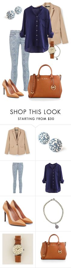 """Blue porcelain"" by marijime on Polyvore featuring moda, MANGO, Current/Elliott, Roland Mouret, Tiffany & Co., J.Crew, MICHAEL Michael Kors, Spring, outfit y spring2016"