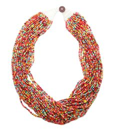 Bliss Beads Woven Closure Seed Bead Necklace-Multi