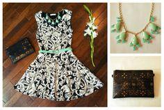 Add a splash of color to dress up your classics! Dress $36, Clutch $34, Necklace $16, Belt $14 #primpboutique #selby www.facebook.com/PrimpBoutique