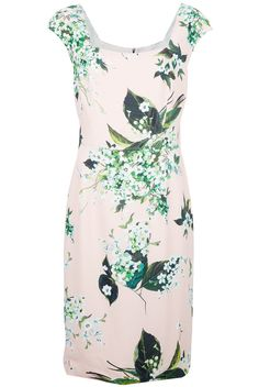 green and white floral print dress