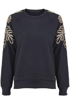 ROMWE | Golden Flower-shaped Beads Embellished Black Pullover, The Latest Street Fashion ($20-50) - Svpply