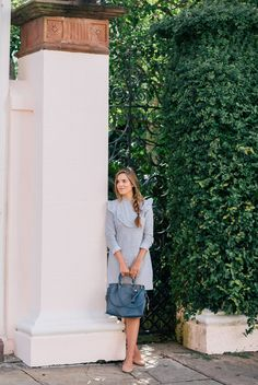 10.16 striped ruffled dress (ASOS ruffle front dress in cotton stripe + Chloe 'lauren' scalloped ballet flats in taupe + Coach 'rogue' pebble leather bag in dark denim)