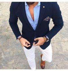 Men's Suits - Mucielee Blazer Masculino Slim Fit Mens Tuxedo Cheap Mans Suit Latest Coat Pant Designs Costume Homme 2 Pieces (Jacket+Pants - Girl Power Pack Traje Casual, Costume En Lin, Costume Blanc, Stylish Men, Men Casual, White Casual, Smart Casual Menswear, Blazer Outfits Men, Blue Blazer Outfit Men