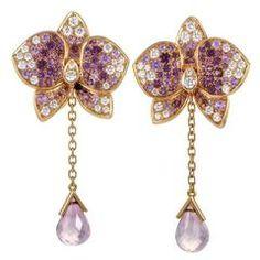 Los diamantes Cartier Rose Pink zafiros de oro Caresse D'orchidées pendientes