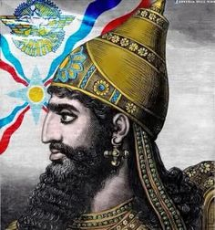 Assyrian King with the flag
