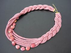 Crochet pink necklace with beads tricotin jewelry by MariAnnieArt