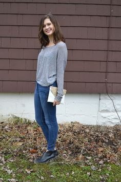 my first look for college fashionista! i love casual sweaters when they're matched with really dressy clutches :)