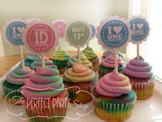 One Direction Cupcake Toppers (set of 12) on Etsy, $12.00
