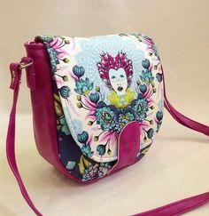 #customorder #sandrasaddlebag in #tulapinkelizabeth and #pink  #fauxleather #swoonpatterns #tulapink #tulatroops #freespiritfabrics #bagstockindia #handmadeinindia #buyhandmade #handmade