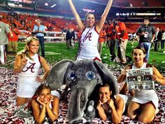 Alabama cheerleaders and mascot     For Great Sports Stories and Funny Audio Podcasts, Visit www.RollTideWarEagle.com
