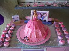 """Line's """"Barbie in a Fashion Fairytale"""" Cake & Cupcakes 