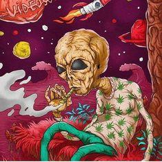 Imagine the kind of stuff aliens be smoking on 🥶 Alien Drawings, Art Drawings, Ufo, Weed Wallpaper, Drugs Art, Trippy Pictures, Psychadelic Art, Marijuana Art, Stoner Art