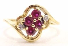 10k Solid Gold Ruby & Diamond Ring Beautiful Dainty Ring 6 Sparkling Stones