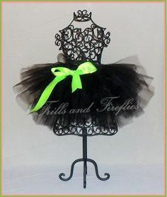 Black Full and Puffy Tutu with Lime Satin Bow by Frills and Fireflies, $32.00