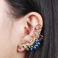 Fashion Punk Gold Rhinestone Acrylic Blue Gecko Ear Cuff Stud Earrings[US$2.18] ,shop cheap fashion jewelry at www.favorwe.com