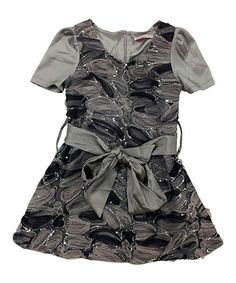 Look at this #zulilyfind! Gray Victoria Sash-Tie Dress - Infant, Toddler & Girls by Mini Treasure Kids #zulilyfinds