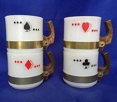 VTG Siesta Ware Playing Cards Mugs Milk Glass White Poker Bridge Set Red Black