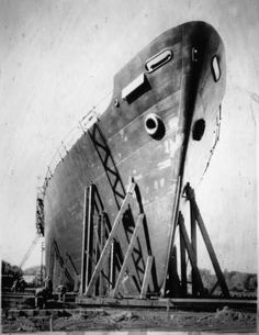 Navy tanker being built at Savage, ca. 1942. Minnesota Historical Society Photograph Collection