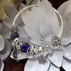 50% OFF!!! $239 Pandora Charm Bracelet Blue White. Hot Sale!!! SKU: CB01910 - PANDORA Bracelet Ideas