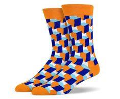 Orange Blue 3D Square Socks