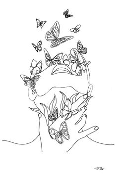 Abstract face with butterfly Wallpaper