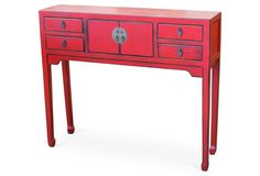 4-Drawer Console, Distressed Red