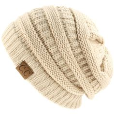 Unisex Winter Chunky Soft Stretch Cable Knit Slouch Beanie Skully Hat... ($8.95) ❤ liked on Polyvore featuring accessories, hats, beanies, toucas, slouch beanie hats, cable knit beanie, slouch beanie, slouchy hat and chunky hat