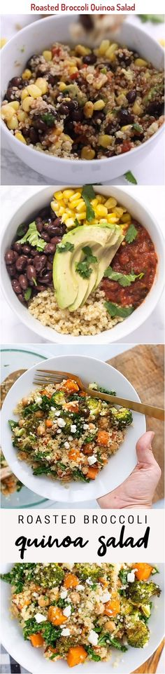 A delicious roasted #broccoli #quinoa salad with roasted sweet potatoes, #kale and a flavorful lemon dressing. Great as a gluten-free #vegetarian main! #glutenfree #sweetpotatoes #eatingbirdfood #saladeveryday Tufo Recipes, Baking Recipes, Healthy Recipes, Bavarois Recipe, Recipe Boards, Roasted Sweet Potatoes, Quinoa Salad, Healthy Salads, Kale
