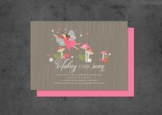 Woodland Fairy Party Invitation with Fairies by brightsideprints