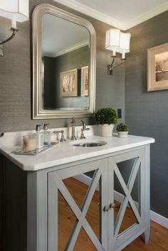 Good Life of Design: Very Small Bathrooms That Look Grande! Love  the mirrored vanity doors