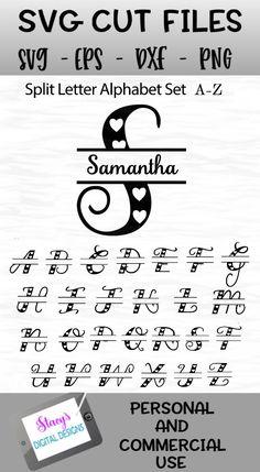 Split Letters A-Z - 26 split monogram files - Hearts example image 6 Cricut Monogram, Cricut Fonts, Monogram Fonts, Cricut Vinyl, Monogram Letters, Free Monogram, Wood Letters, Stencil Patterns Letters, Letter Stencils