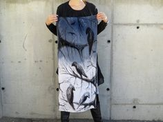 Black and White Silk Scarf Satin Hand Painted silk by SilkRevolt