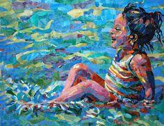 incredible child bathing mosaic.  Looks like pastels!