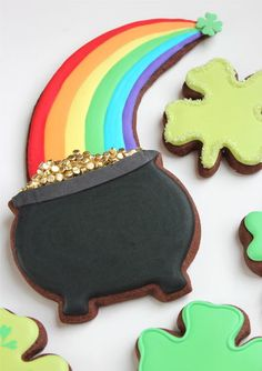 Pot of Gold Cookies--just the pots -chocolate cookie and gold and brass colored dragees