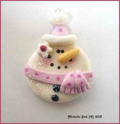 Polymer Clay Round Glittery Snowman
