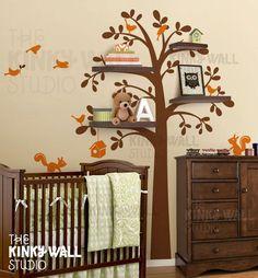 Children Wall Decal Vinyl Wall Sticker  Shelving Tree by KinkyWall, $82.00