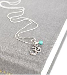 Ladies Yoga Necklace Womens Small Silver Om Aqua by LOVEnLAVISH, $18.00