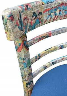 Refurbish your child's beat up desk chair by decoupaging with old comics....