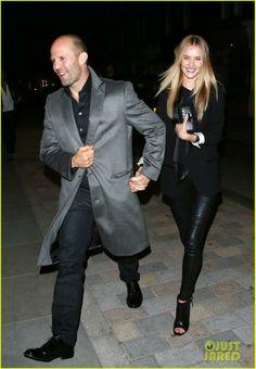 Rosie Huntington-Whiteley with Jason Statham leaving Nobu restaurant after dinner in London, England