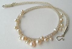 Viking Knit Chain with White Freshwater Pearls