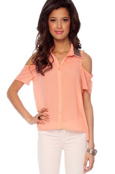 Just Bead It Top in Peach $39 at www.tobi.com