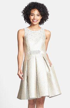 Eliza J Embellished Metallic Jacquard Fit & Flare Dress available at #Nordstrom