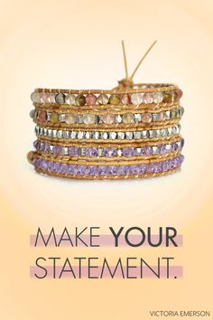 You really cant go wrong with this 5-wrap natural leather bracelet, made from real lavender crystals and metallic & mixed natural agate watermelon stone. Add serious style to every outfit -- for work or play. Plus, the longer you wear your bracelet, the softer it gets. Order one for you and your bestie now.