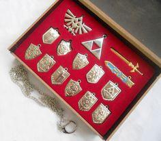 14 Set Legend of Zelda Shield Sword Blade Weapon Necklace Set Silver No Box | eBay