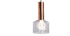 Rehm Pendant Lamp and Plumen 001 Bulb, Smoke Grey and Copper | made.com