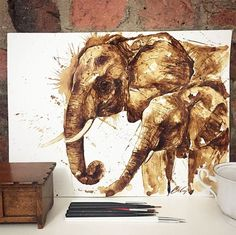 Estas Pinturas Están Hechas Únicamente Con Manchas De Café