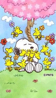 Snoopy, Woodstock and Friends Sitting Under a Pink-Leafed Tree Surrounded by Flowers