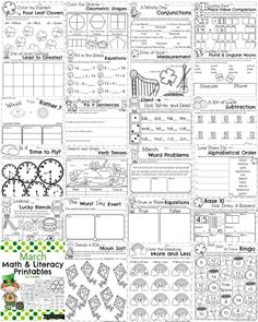 March First Grade Worksheets - Math, Grammar and Writing